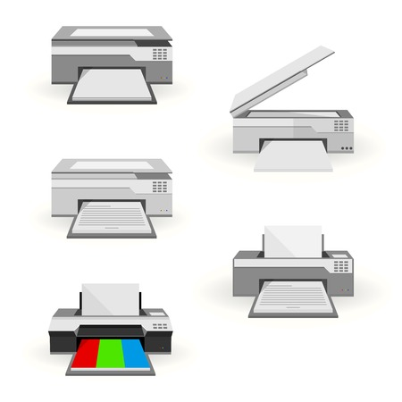 Gray inkjet colorful printers and gray copiers. Five flat illustrations on white. Ilustração