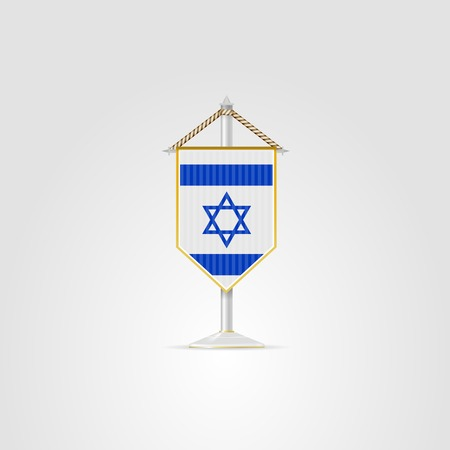 pennon: Pennon with the flag of Israel. Isolated illustration on white.
