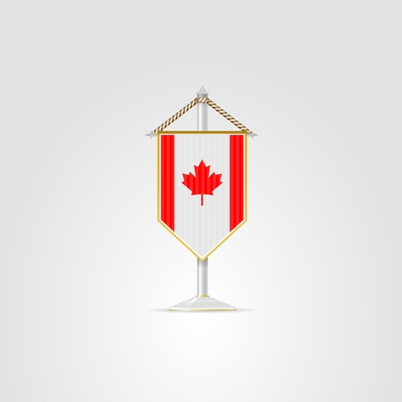 pennon: Pennon with the flag of Canada. Isolated illustration on white.