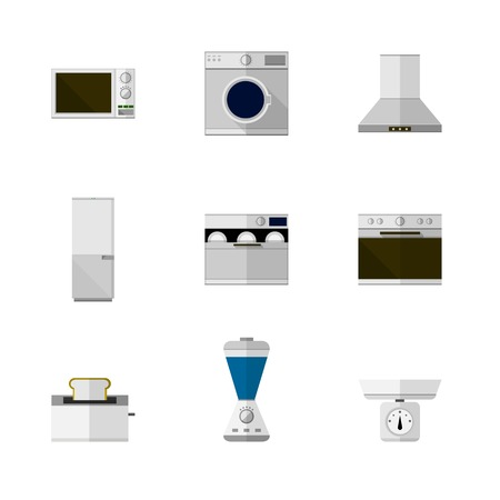 Set of nine flat icons with white and colored equipment for home on white background. Vector
