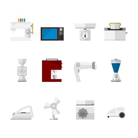 Set of flat icons with white and colored equipment for home on white background. Vector
