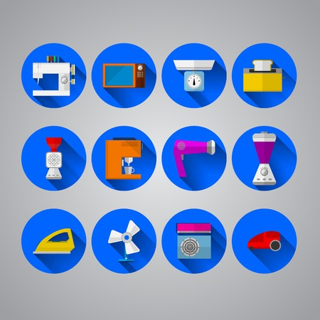 Set of blue circle icons with colored equipment for home on gray background. Vector