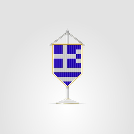 pennon: Pennon with the flag of Greece. Isolated vector illustration on white.