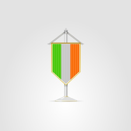 pennon: Pennon with the flag of Ireland. Isolated vector illustration on white. Illustration