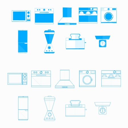 Blue monochrome and contour icons for household equipment on white. Vector