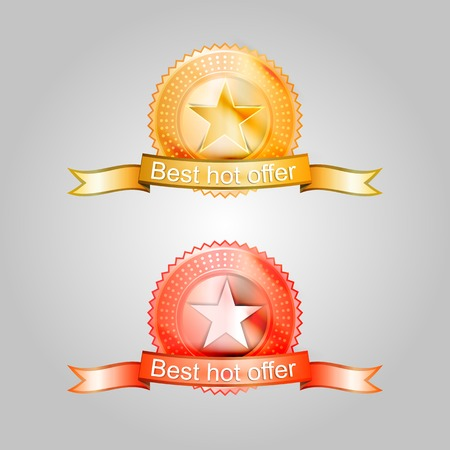 Red and gold badges for the best offer. Two vector illustrations isolated on white. Vector