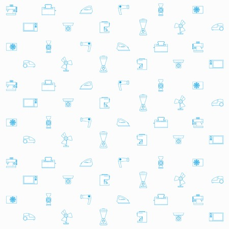 Pattern with blue contour icons for household appliances on white background. Vector