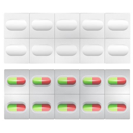 prophylaxe: Grau Packung von rot-gr�nen Pillen. Isolierte Vektor-Illustration auf wei�. Illustration