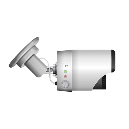 side viewing: Side view of gray surveillance camera. Isolated vector illustration on white.