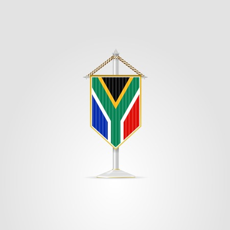 pennon: Pennon with the flag of Republic of South Africa. Isolated vector illustration on white.