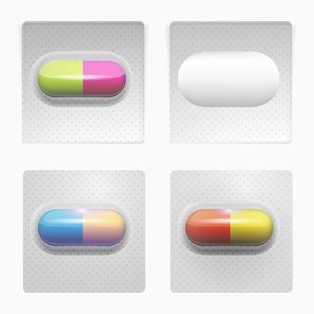 prophylaxe: Set von drei quadratischen grauen Packungen mit farbigen Pillen und eine leere Packung. Isolierte Vektor-Illustrationen auf wei�.