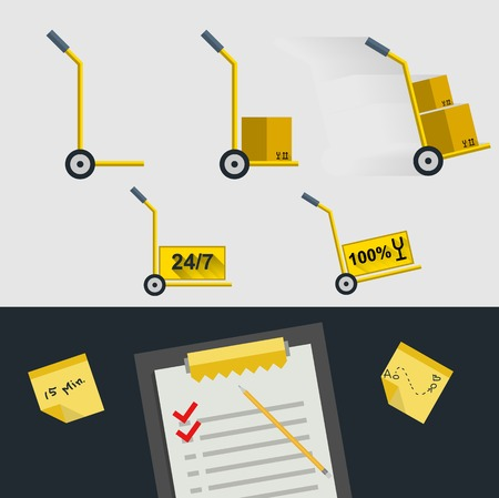 Set of icons for delivery. Yellow hand-trucks with boxes on white background and clipboard with marks on black background. Vector