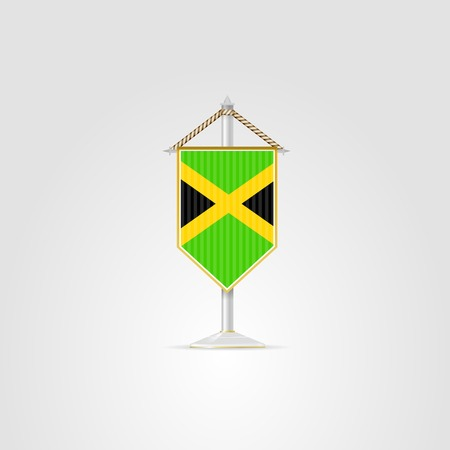 pennon: Pennon with the flag of Jamaica. Isolated vector illustration on white.