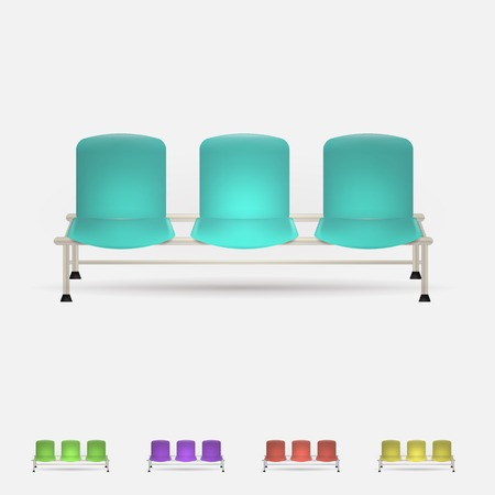 Set of triple colored waiting benches. Five vector illustrations isolated on white. Vector