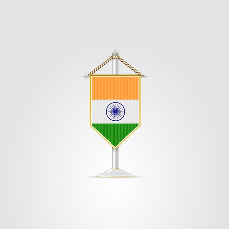 pennon: Pennon with the flag of India. Isolated vector illustration on white.