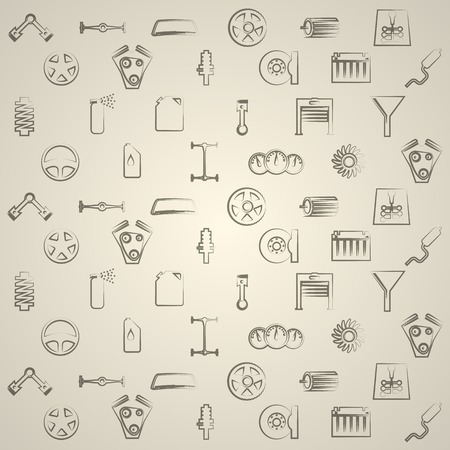 axle: Vintage pattern with signs for auto repair on gray background