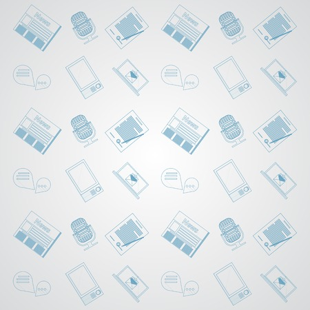 Pattern with blue outline icons for news on gray background  Stock Vector - 29044609