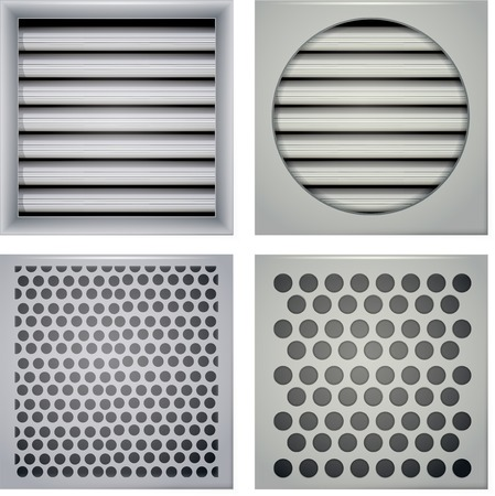 louvered: Set of gray ventilation shutters different type