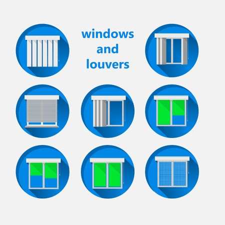 Set of blue circle icons for windows with green curtains and white louvers.