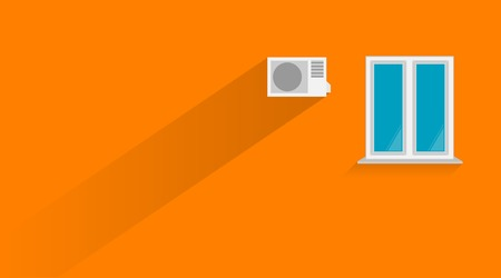 casement: illustration of orange wall with white window and the air conditioner. Illustration