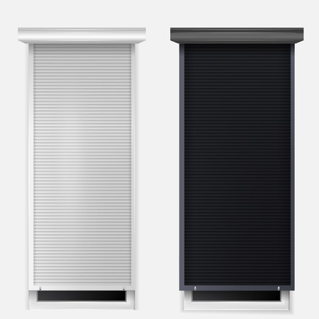 Two windows with black and white louvers