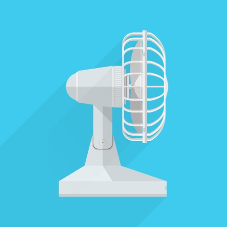 A side view of the white fan on blue background.
