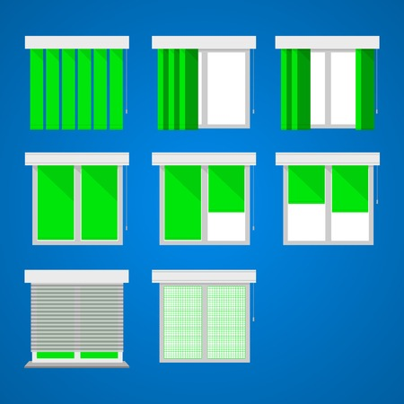 casement: Set of icons for windows with green curtains and louvers on blue.