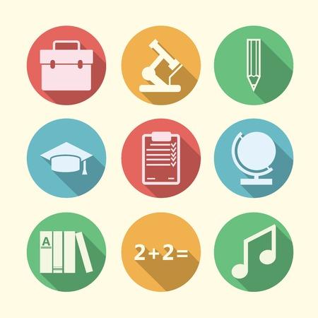 educacion universitaria: Iconos c�rculo de colores con s�mbolos de la silueta de la escuela o la universidad la educaci�n.