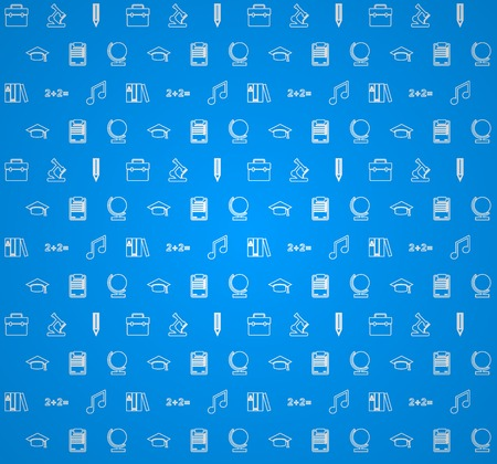 pattern with white outline symbols of school or college education on blue background. Ilustrace