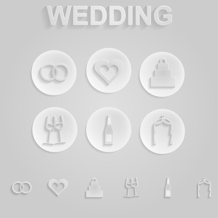 plight: Vector pattern with gray silhouette icons for wedding on pink background.