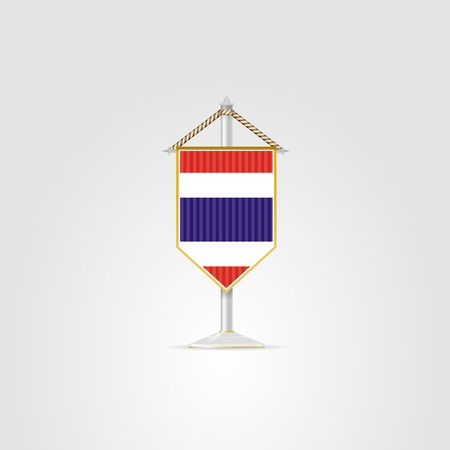 pennon: Pennon with the flag of Thailand. Isolated vector illustration on white. Illustration