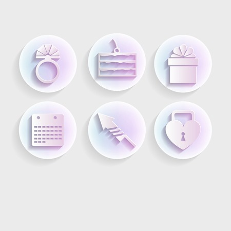 Circle light vector icons for wedding with purple shadow on gray background. Illustration