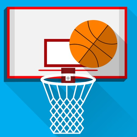 White backboard with white basket and basketball on blue background.
