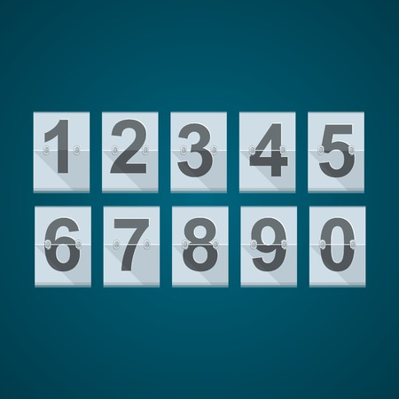 reversible: Set of vector numbers for mechanical basketball or others scoreboard on blue background.