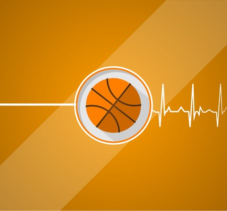 Vector flat illustration of basketball which gives a life on striper orange background