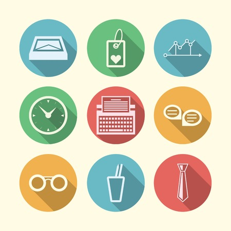 Set of circle colored icons with white silhouette symbols for freelance or business. Vector