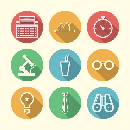 freelance: Set of circle colored icons with white silhouette symbols for freelance or business.