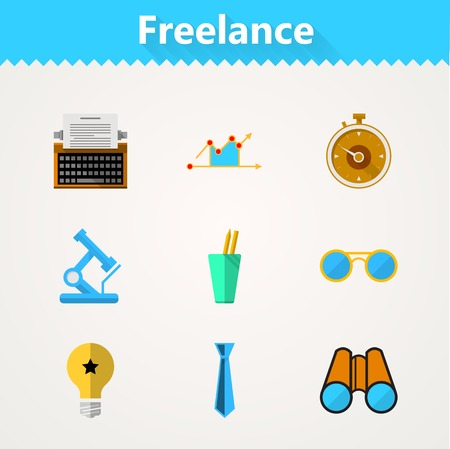 Set of flat colored icons for freelance or business. Vector