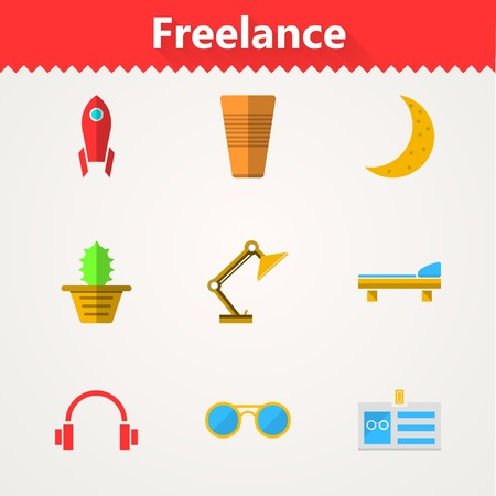 freelance: Set of flat colored icons for freelance or business.