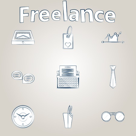 Set of sketch white icons with ink contour for freelance or business on gray background. Vector
