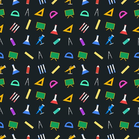 chancellery: Seamless vector pattern with school supplies on black background