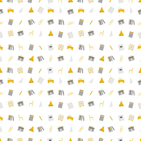 Seamless vector pattern with school supplies on white background  Vector