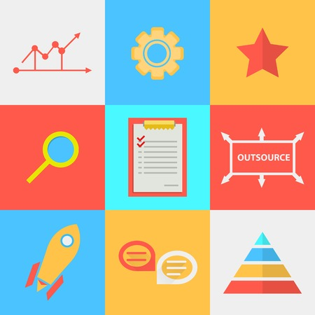 Set of colored square flat icons with symbols of process of outsourced  Vector