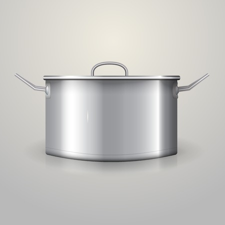 Aluminum saucepan with flat lid and two handles  Isolated illustration on gray
