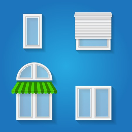 casement: Set of different kind of windows on blue
