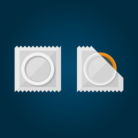 sexual health: Condom in a white pack Isolated illustration on black