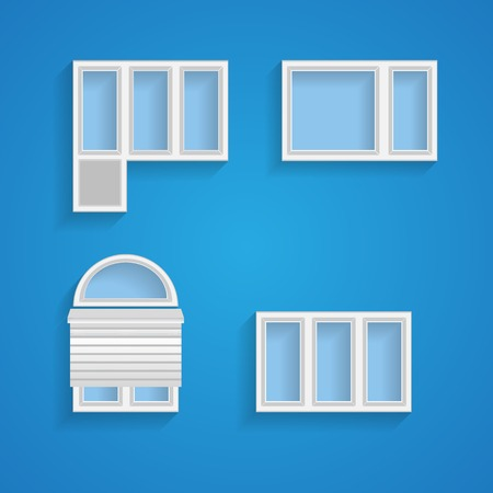 window sill: Set of different kind of windows on blue