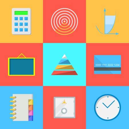 Set of colored square flat icons with outsource work symbols  Vector
