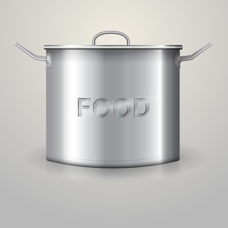 Aluminum high saucepan with the word Food, flat lid and two handles  Isolated illustration on gray