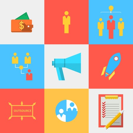 Set of colored square flat icons with outsource team symbols